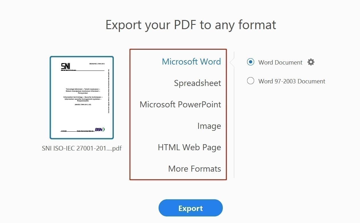 Export Convert PDF to Office